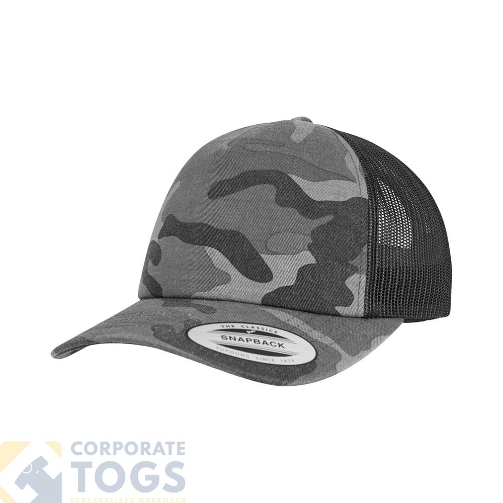 49a0a404c10 FLEXFIT BY YUPOONG YP029 CAMO TRUCKER CAP (6606C)