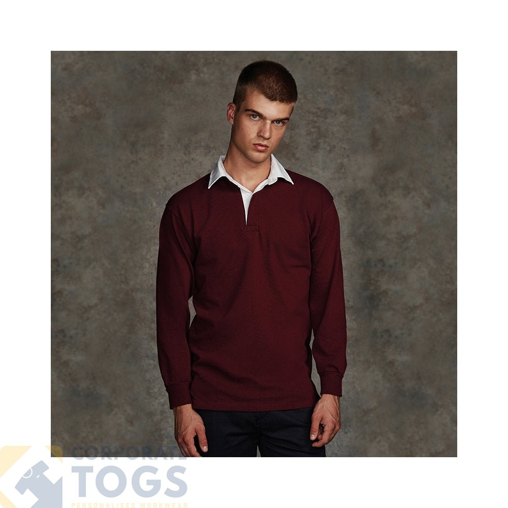 91166aec063434 FRONT ROW FR100 LONG SLEEVE PLAIN RUGBY SHIRT