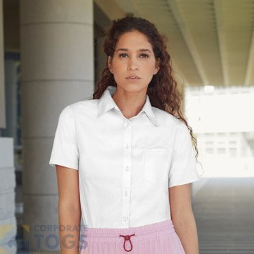 Womens Blouse Shirt-Blouse Fruit of the Loom Womens Poplin Long Sleeve Shirt