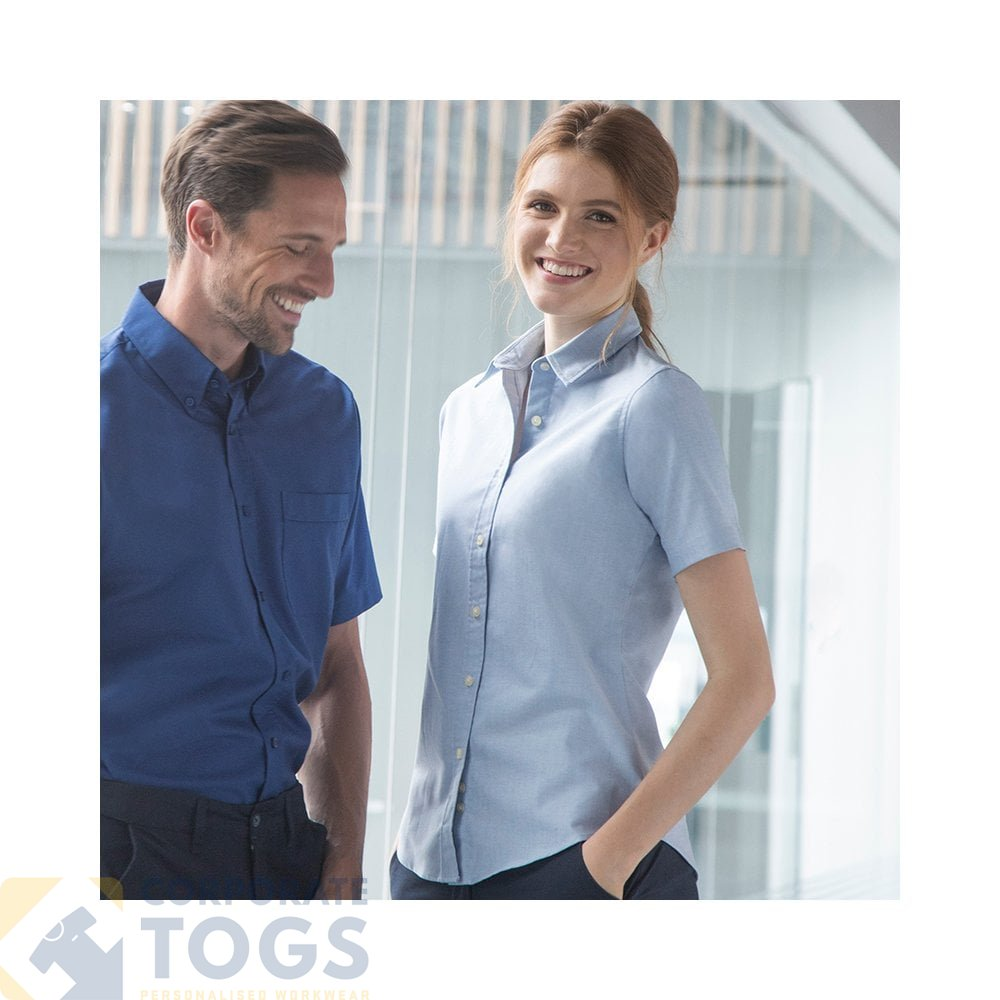 4XL Henbury  Womens Short Sleeve Classic Oxford Shirt 5 Colours S