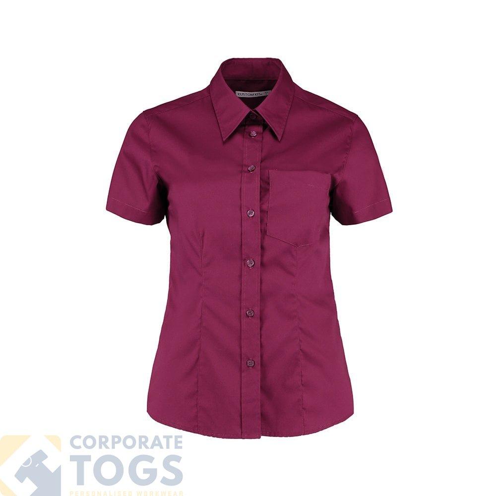 Kustom Kit Womens Corporate Business Pocket Oxford Blouse Short Sleeve KK719