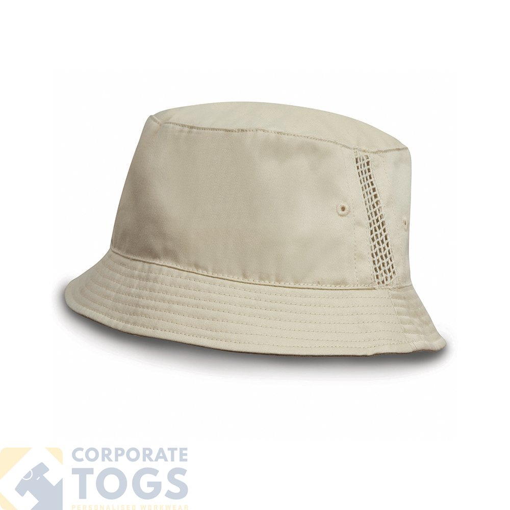 c9089893d DELUXE WASHED COTTON BUCKET HAT WITH SIDE MESH PANELS